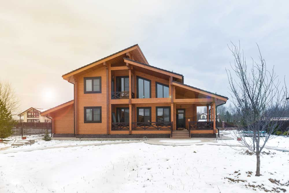 Timber Home in Winter